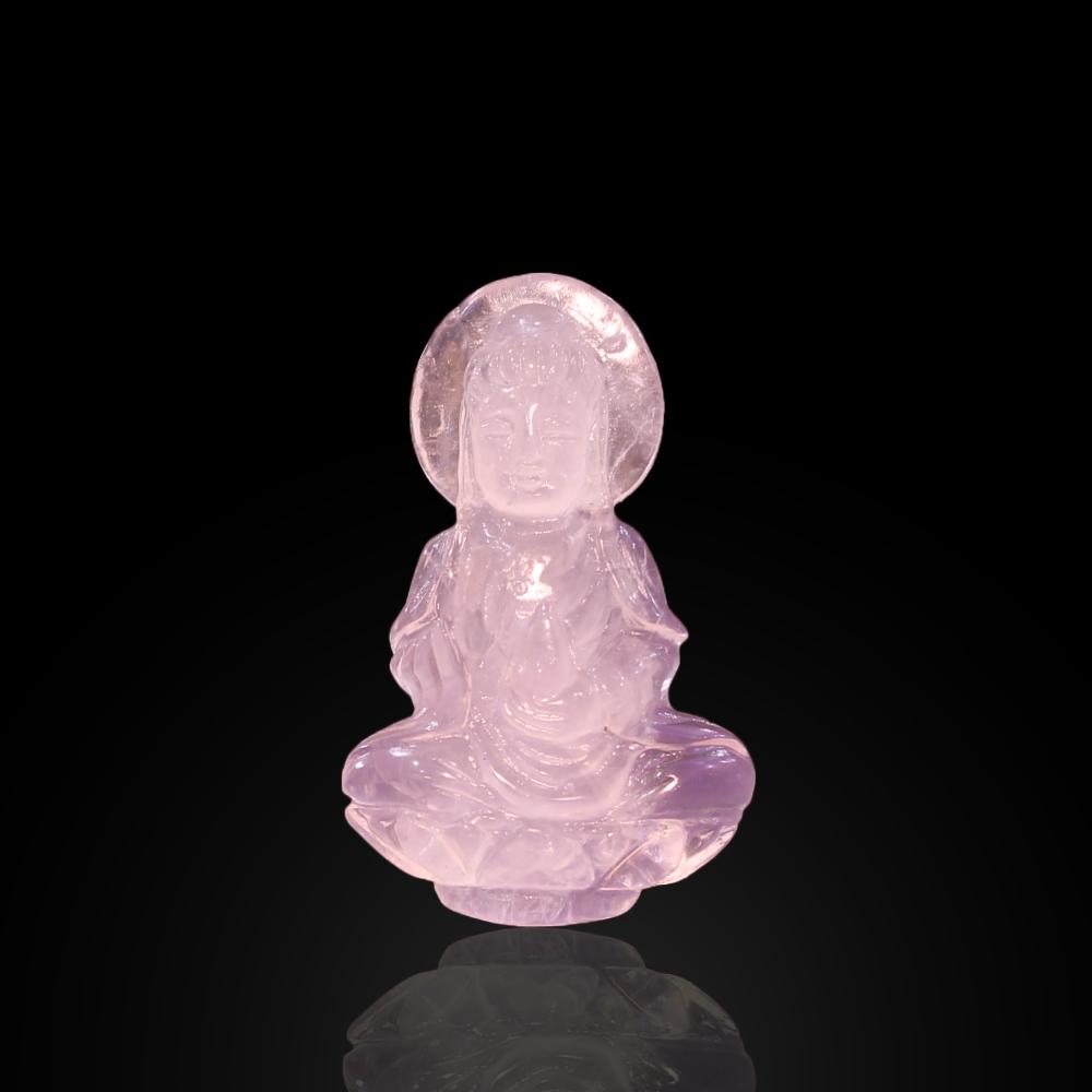 Mặt Phật Bà Quan Âm Đá Thạch Anh Hồng