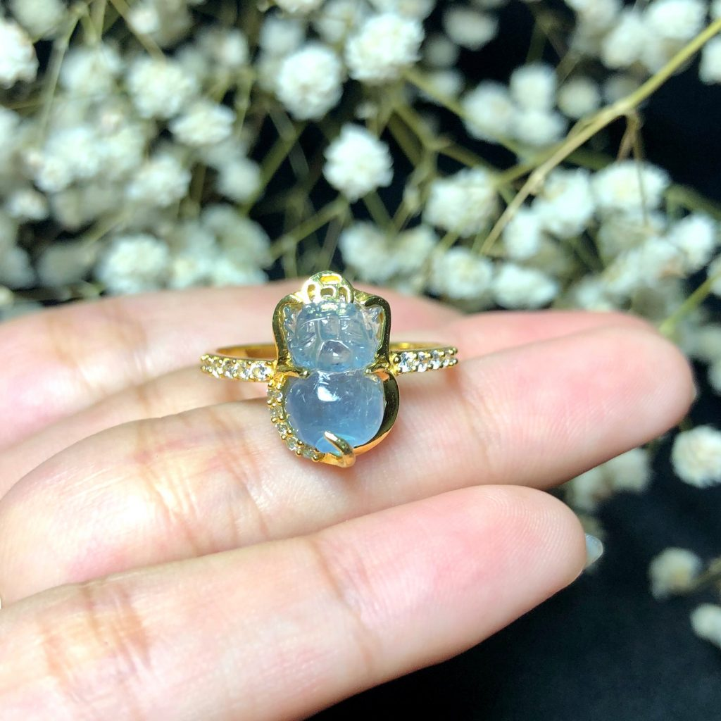Nhẫn Vàng Tỳ Hưu Đá Aquamarine